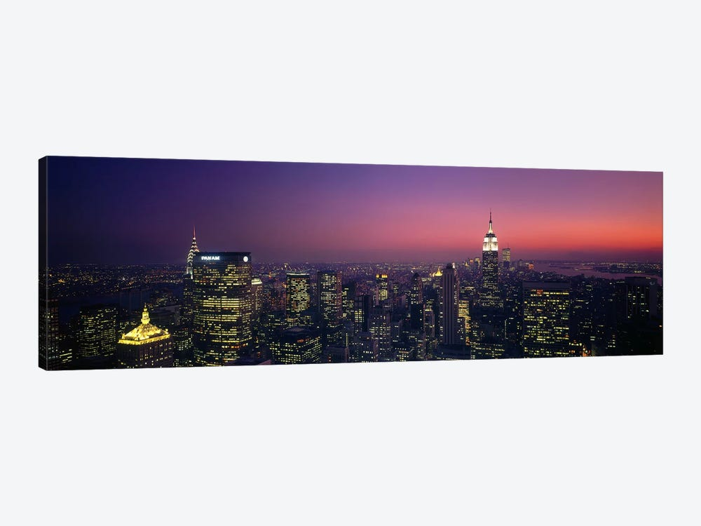 Twilight, Aerial, NYC, New York City, New York State, USA by Panoramic Images 1-piece Canvas Wall Art