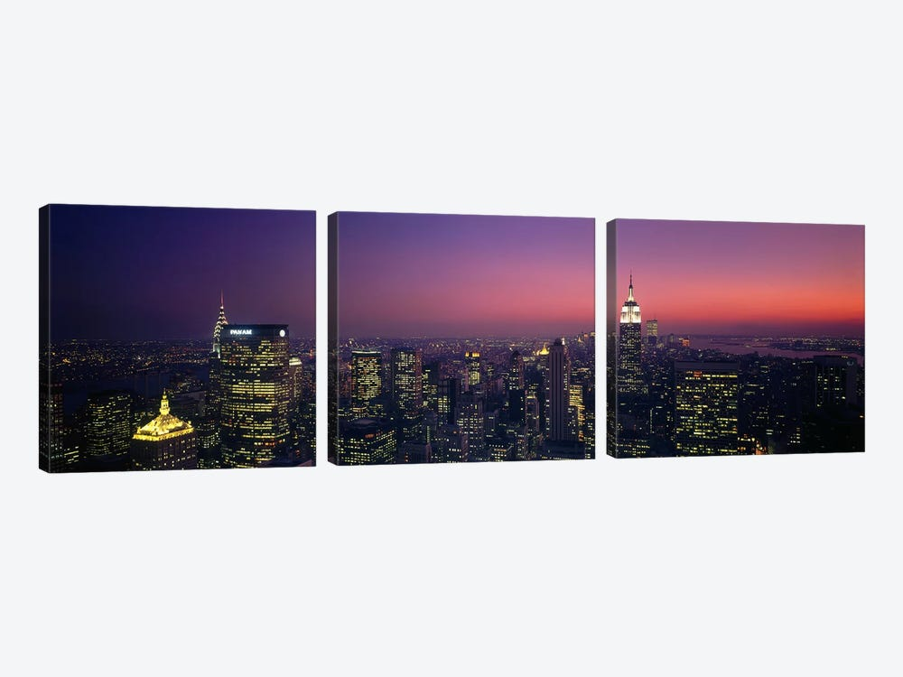 Twilight, Aerial, NYC, New York City, New York State, USA by Panoramic Images 3-piece Canvas Art