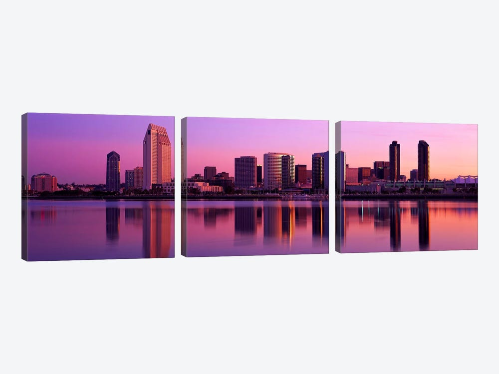 USA, California, San Diego, twiilight by Panoramic Images 3-piece Canvas Art