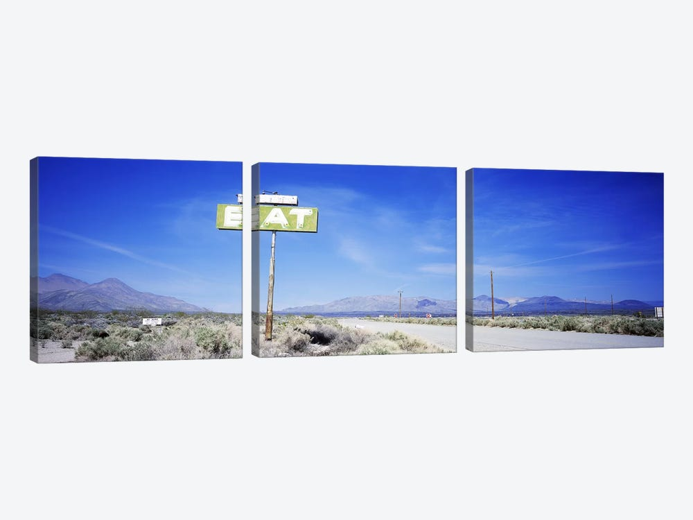 Old Diner Sign, Highway 395, California, USA by Panoramic Images 3-piece Canvas Artwork