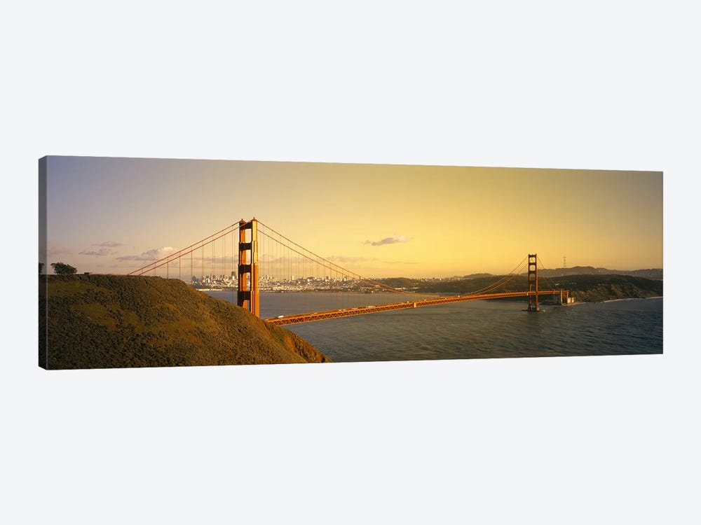 High angle view of a suspension bridge across the seaGolden Gate Bridge, San Francisco, California, USA by Panoramic Images 1-piece Canvas Art