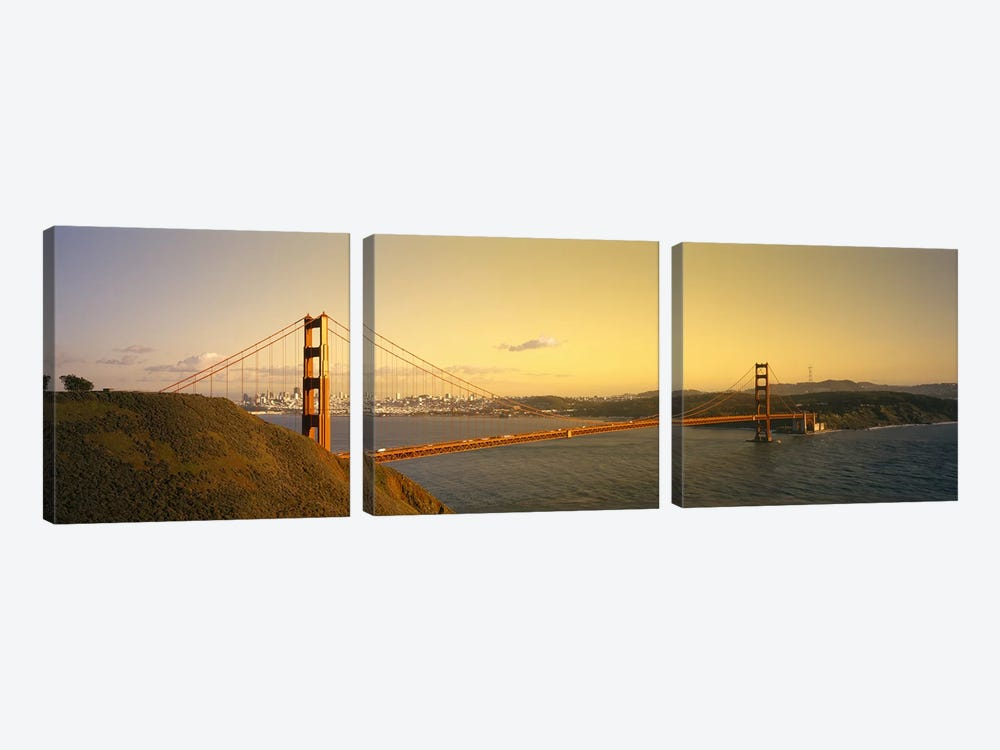 High angle view of a suspension bridge across the seaGolden Gate Bridge, San Francisco, California, USA by Panoramic Images 3-piece Canvas Art