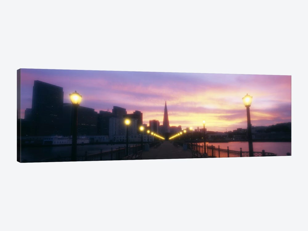 Illuminated lampposts on a pierSan Francisco, California, USA by Panoramic Images 1-piece Canvas Art Print