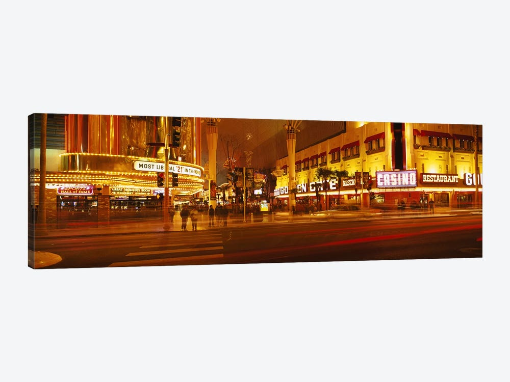 Casino lit up at nightFremont Street, Las Vegas, Nevada, USA by Panoramic Images 1-piece Canvas Art