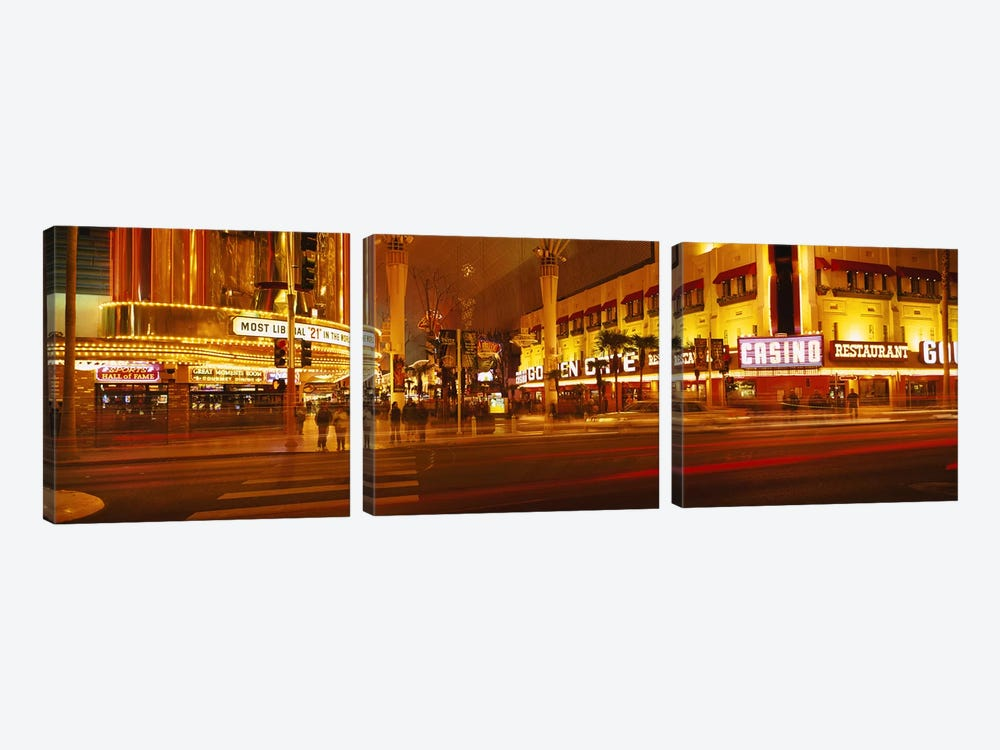 Casino lit up at nightFremont Street, Las Vegas, Nevada, USA by Panoramic Images 3-piece Canvas Art