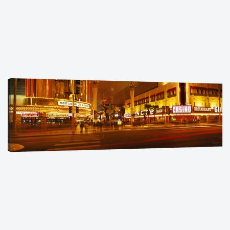 Casino lit up at nightFremont Street, Las Vegas, Nevada, USA Canvas Print #PIM2944} by Panoramic Images Art Print