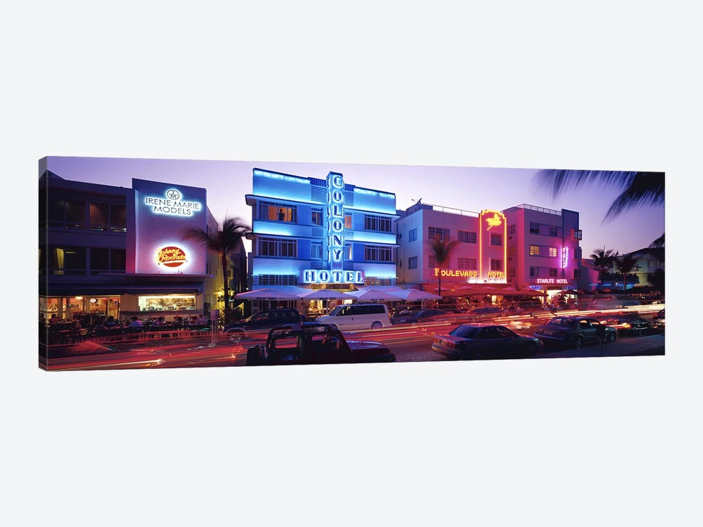 Ocean Drive South Beach Miami FL USA by Panoramic Images 1-piece Canvas Print