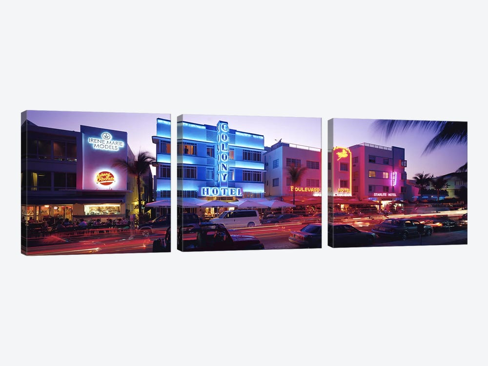 Ocean Drive South Beach Miami FL USA by Panoramic Images 3-piece Canvas Art Print