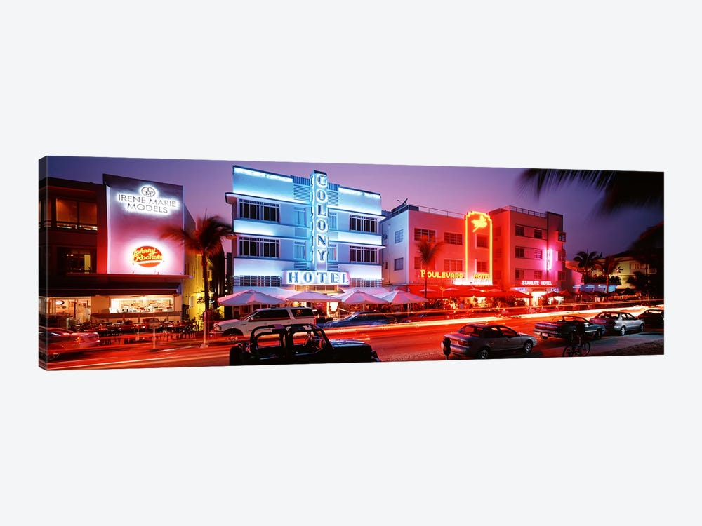 Buildings Lit Up At NightSouth Beach, Miami Beach, Florida, USA by Panoramic Images 1-piece Canvas Art