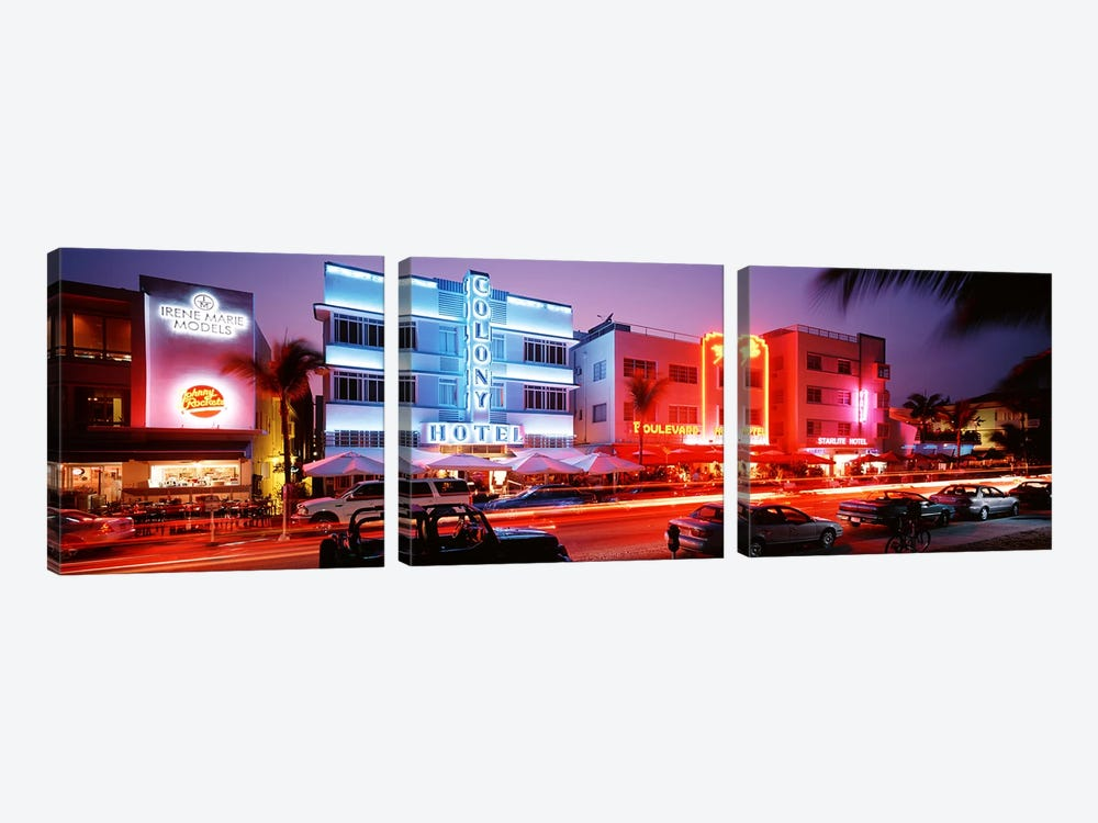 Buildings Lit Up At NightSouth Beach, Miami Beach, Florida, USA by Panoramic Images 3-piece Canvas Artwork