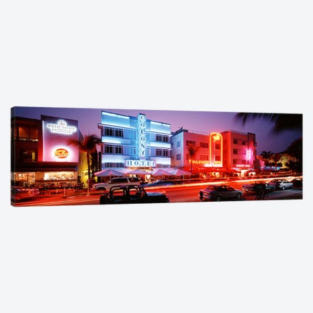 Buildings Lit Up At NightSouth Beach, Miami Beach, Florida, USA 3-Piece Canvas #PIM2946} by Panoramic Images Art Print