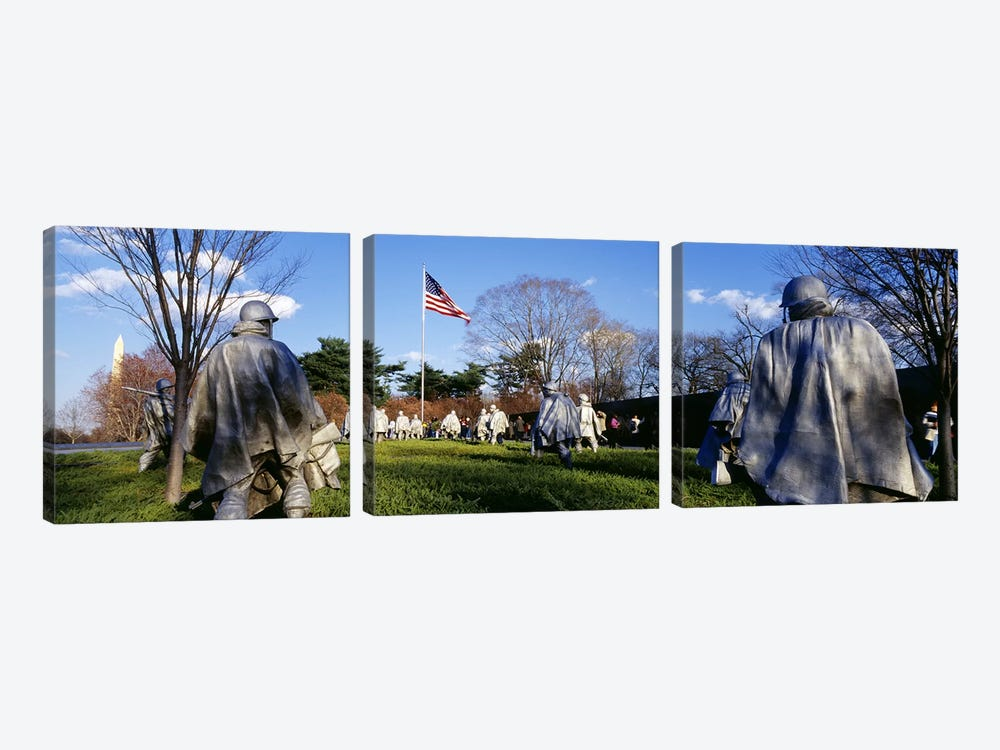 Korean Veterans Memorial Washington DC USA by Panoramic Images 3-piece Canvas Art Print