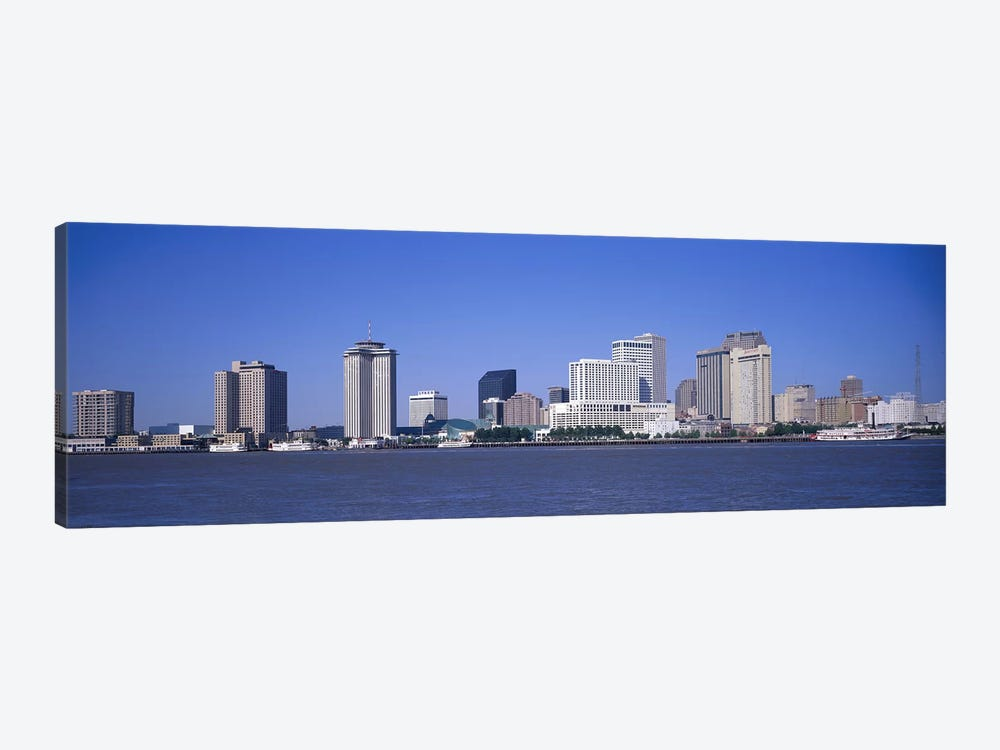 Buildings at the waterfront, Mississippi River, New Orleans, Louisiana, USA by Panoramic Images 1-piece Canvas Art