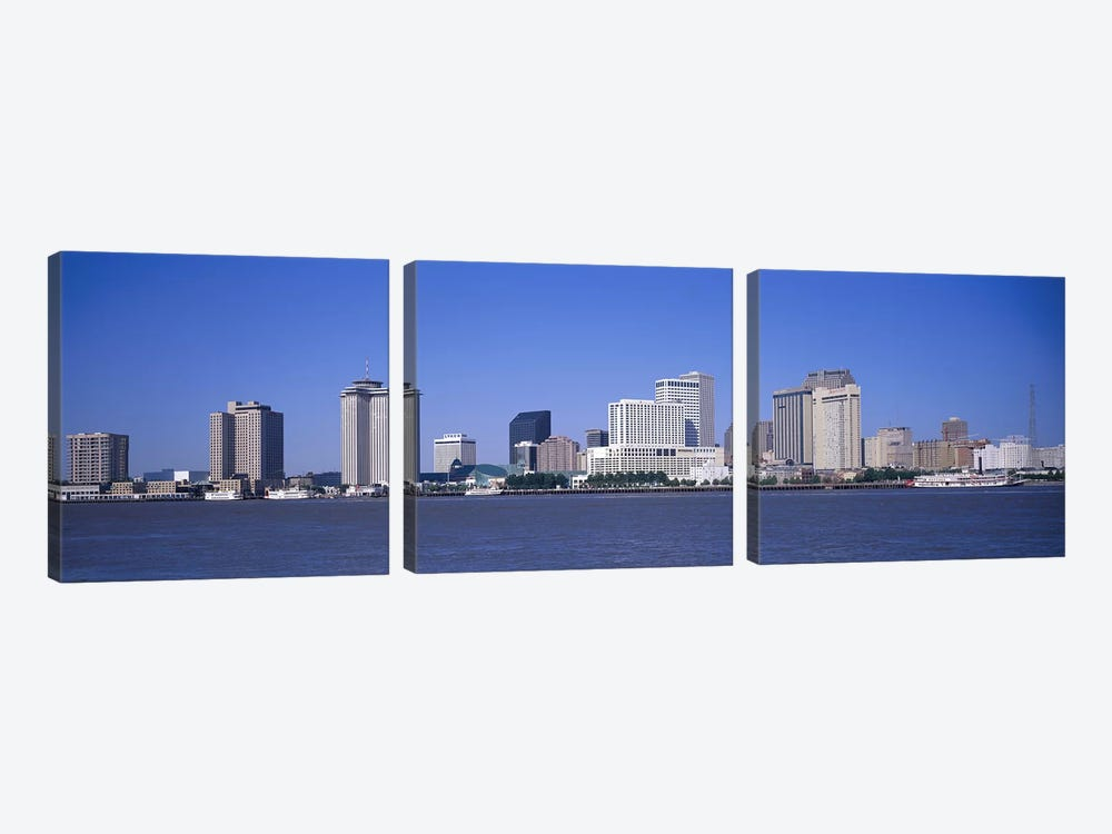 Buildings at the waterfront, Mississippi River, New Orleans, Louisiana, USA by Panoramic Images 3-piece Canvas Artwork