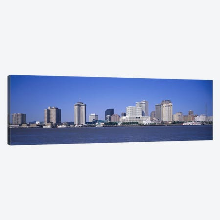 Buildings at the waterfront, Mississippi River, New Orleans, Louisiana, USA Canvas Print #PIM2966} by Panoramic Images Art Print