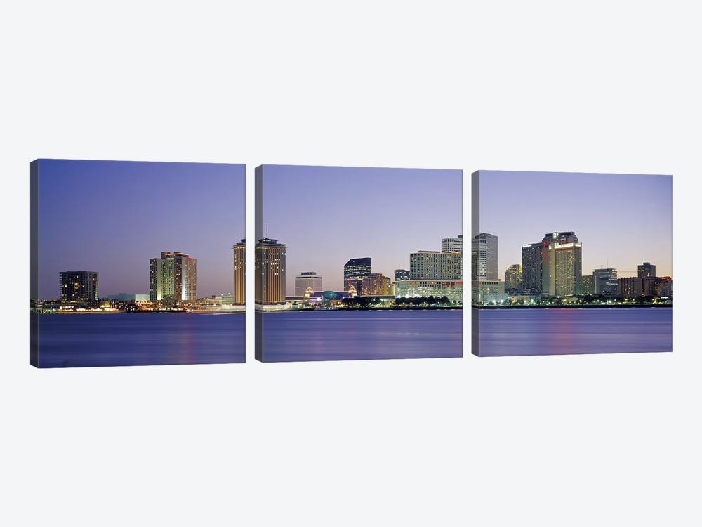 Night New Orleans LA by Panoramic Images 3-piece Canvas Art Print