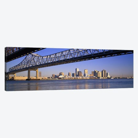 Low angle view of bridges across a river, Crescent City Connection Bridge, Mississippi River, New Orleans, Louisiana, USA Canvas Print #PIM2968} by Panoramic Images Canvas Artwork