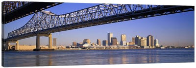 Low angle view of bridges across a river, Crescent City Connection Bridge, Mississippi River, New Orleans, Louisiana, USA Canvas Art Print