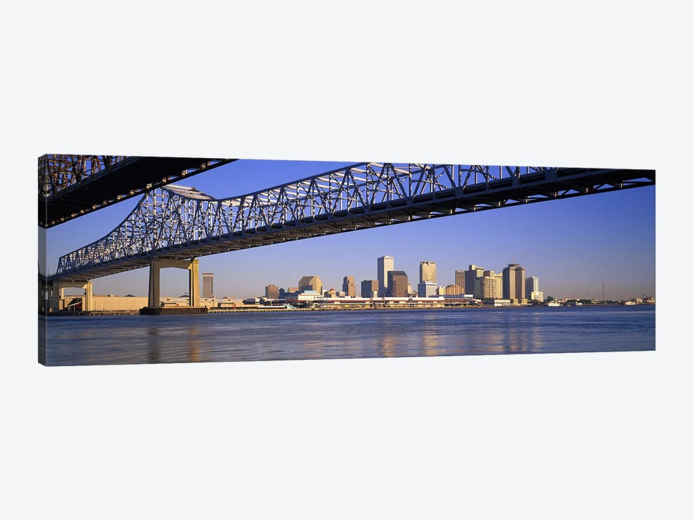 Low angle view of bridges across a river, Crescent City Connection Bridge, Mississippi River, New Orleans, Louisiana, USA by Panoramic Images 1-piece Canvas Artwork