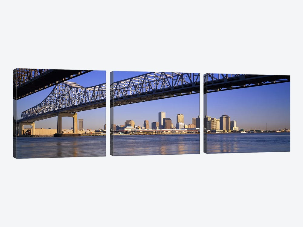 Low angle view of bridges across a river, Crescent City Connection Bridge, Mississippi River, New Orleans, Louisiana, USA by Panoramic Images 3-piece Canvas Wall Art
