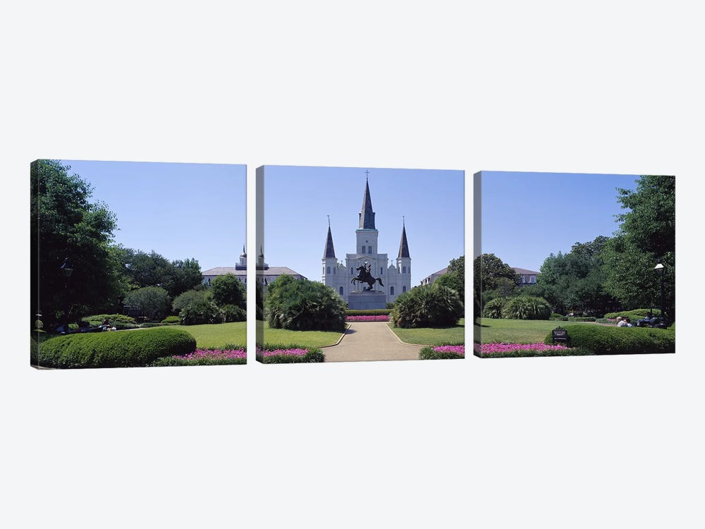 St Louis Cathedral Jackson Square New Orleans LA USA by Panoramic Images 3-piece Canvas Art Print