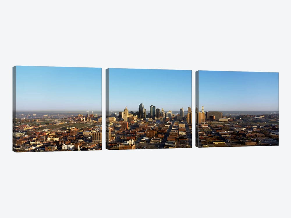 Aerial view of a cityscape, Kansas City, Missouri, USA by Panoramic Images 3-piece Canvas Wall Art