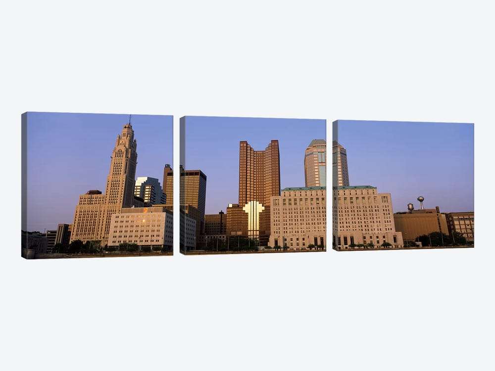 Buildings in a city, Columbus, Franklin County, Ohio, USA by Panoramic Images 3-piece Canvas Art Print