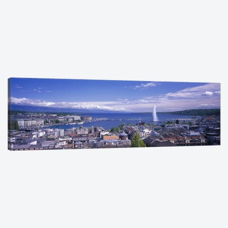 Shoreline Landscape, Lake Geneva, Geneva, Switzerland Canvas Print #PIM2977} by Panoramic Images Canvas Art