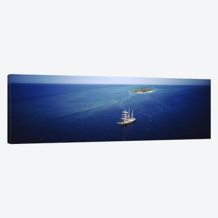 High angle view of a sailboat in the ocean, Heron Island, Great Barrier Reef, Queensland, Australia Canvas Print #PIM2982} by Panoramic Images Canvas Artwork
