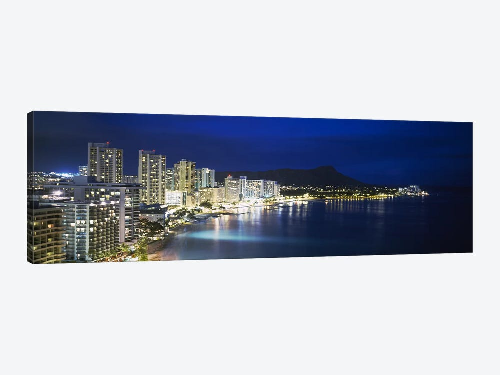 Buildings On The Waterfront, Waikiki, Honolulu, Oahu, Hawaii, USA by Panoramic Images 1-piece Canvas Art