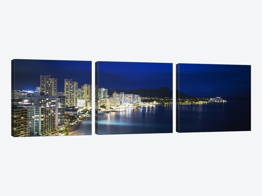 Buildings On The Waterfront, Waikiki, Honolulu, Oahu, Hawaii, USA by Panoramic Images 3-piece Canvas Art