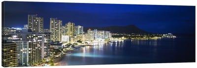 Buildings On The Waterfront, Waikiki, Honolulu, Oahu, Hawaii, USA Canvas Art Print