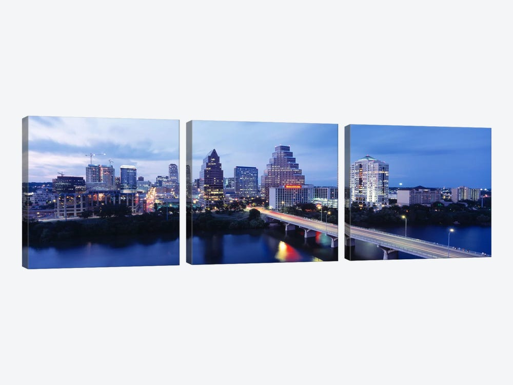 Night, Austin, Texas, USA by Panoramic Images 3-piece Canvas Print