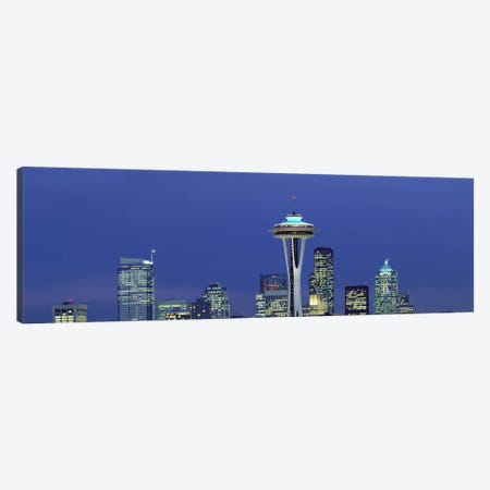 Buildings in a city lit up at night, Space Needle, Seattle, King County, Washington State, USA Canvas Print #PIM2987} by Panoramic Images Canvas Art Print
