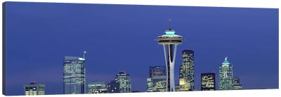 Buildings in a city lit up at night, Space Needle, Seattle, King County, Washington State, USA Canvas Print #PIM2987