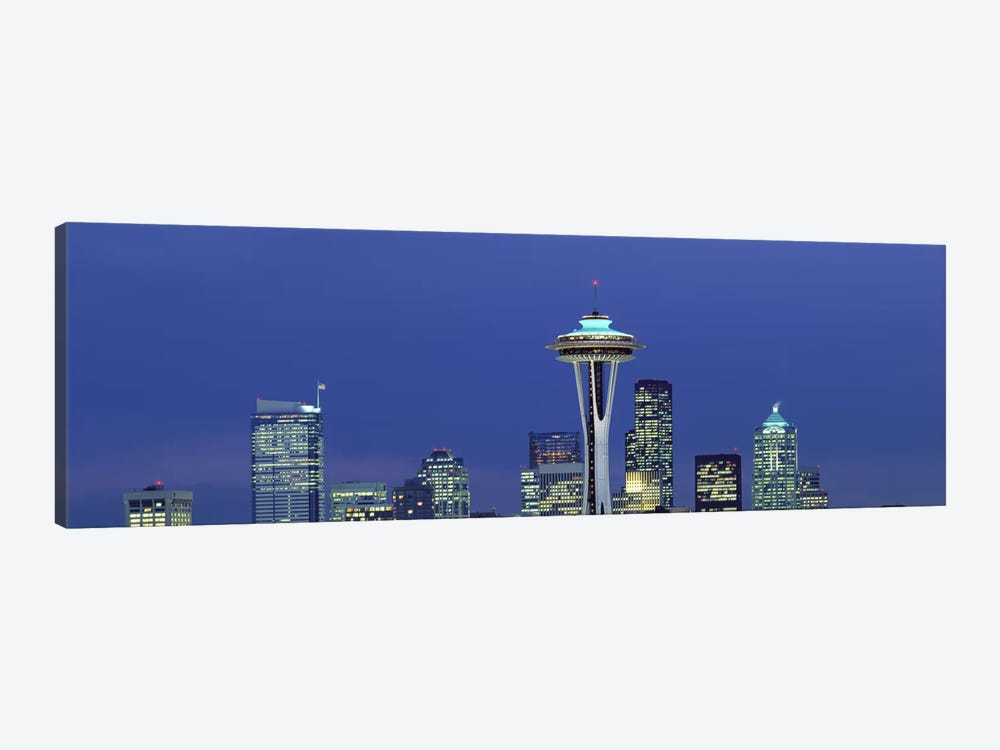 Buildings in a city lit up at night, Space Needle, Seattle, King County, Washington State, USA 1-piece Canvas Art Print
