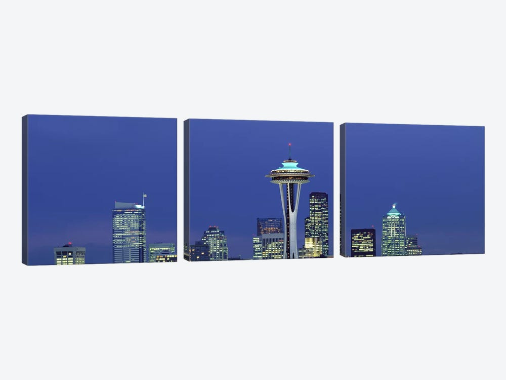 Buildings in a city lit up at night, Space Needle, Seattle, King County, Washington State, USA 3-piece Art Print