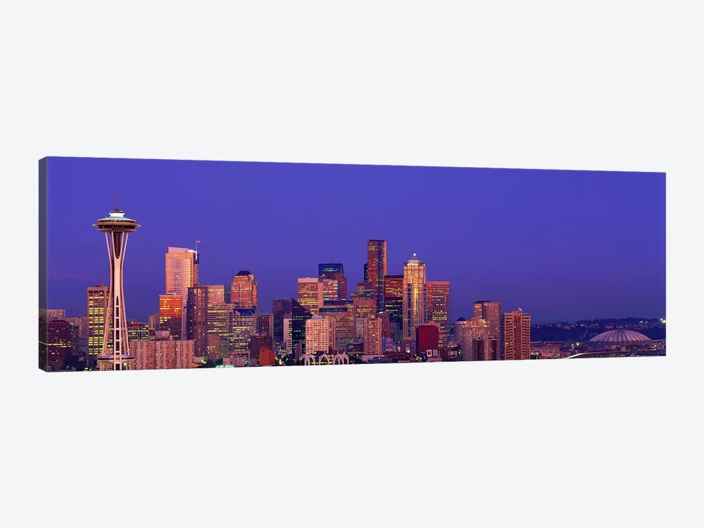 USA, Washington, Seattle, cityscape at twilight by Panoramic Images 1-piece Canvas Artwork