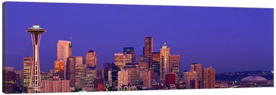 USA, Washington, Seattle, cityscape at twilight Canvas Art Print