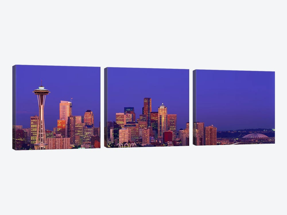 USA, Washington, Seattle, cityscape at twilight by Panoramic Images 3-piece Canvas Wall Art