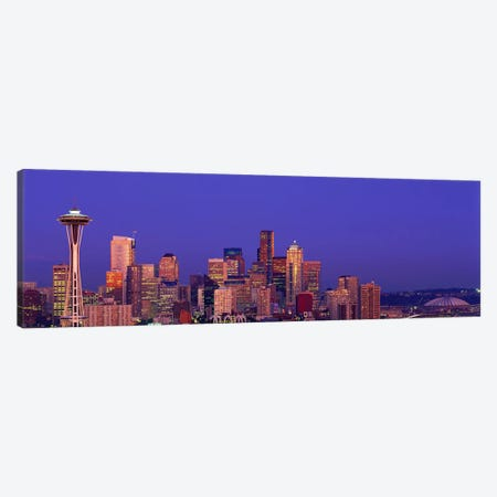 USA, Washington, Seattle, cityscape at twilight 3-Piece Canvas #PIM2988} by Panoramic Images Canvas Wall Art