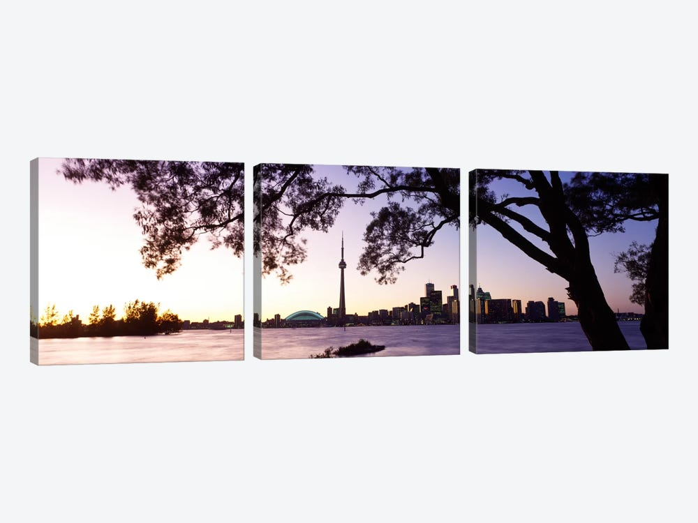 Skyline CN Tower Skydome Toronto Ontario Canada by Panoramic Images 3-piece Canvas Wall Art