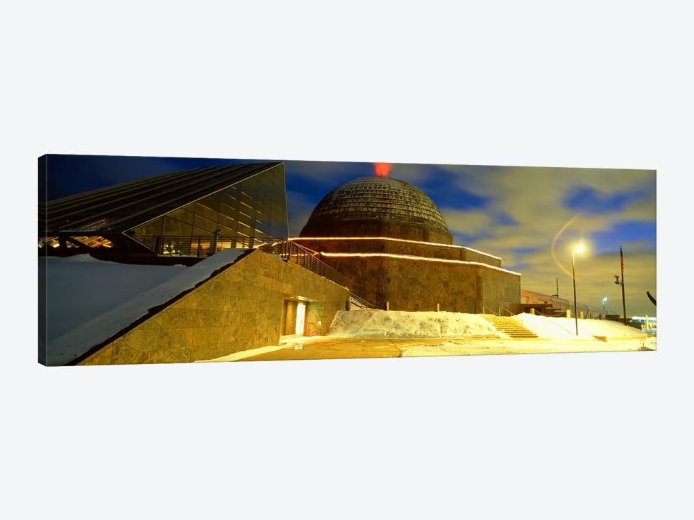 Museum lit up at dusk, Adler Planetarium, Chicago, Illinois, USA by Panoramic Images 1-piece Canvas Print