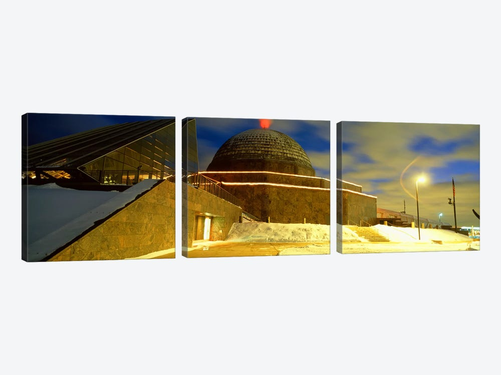 Museum lit up at dusk, Adler Planetarium, Chicago, Illinois, USA by Panoramic Images 3-piece Canvas Print