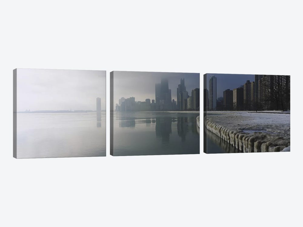 Buildings at the waterfront, Lake Michigan, Navy Pier, Michigan, Chicago, Cook County, Illinois, USA by Panoramic Images 3-piece Art Print