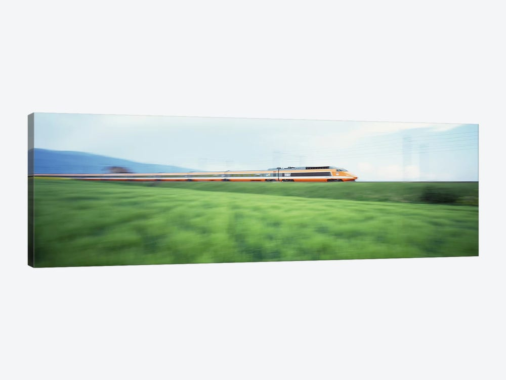 TGV High-speed Train passing through a grassland by Panoramic Images 1-piece Canvas Artwork