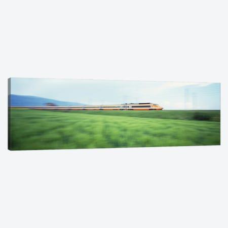 TGV High-speed Train passing through a grassland 3-Piece Canvas #PIM2993} by Panoramic Images Canvas Art Print