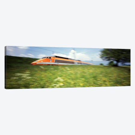 Blurred Motion View Of A TGV (High-Speed Train) 3-Piece Canvas #PIM2994} by Panoramic Images Canvas Artwork