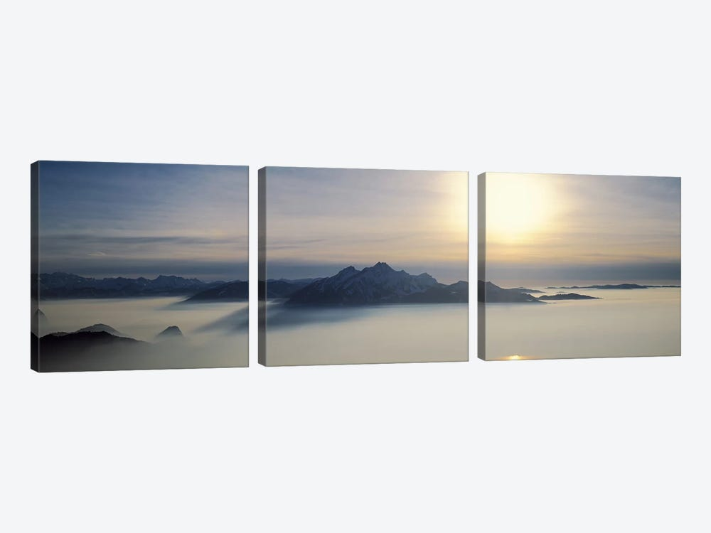 Mist Around Pilatus, Lucerne, Switzerland by Panoramic Images 3-piece Canvas Wall Art