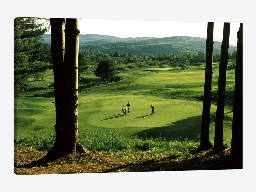 Golfers On A Green, Country Club Of Vermont, Waterbury, Washington County, Vermont, USA by Panoramic Images 1-piece Canvas Print